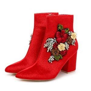 Red Velvet Ankle Appliqué Embroidered Booties